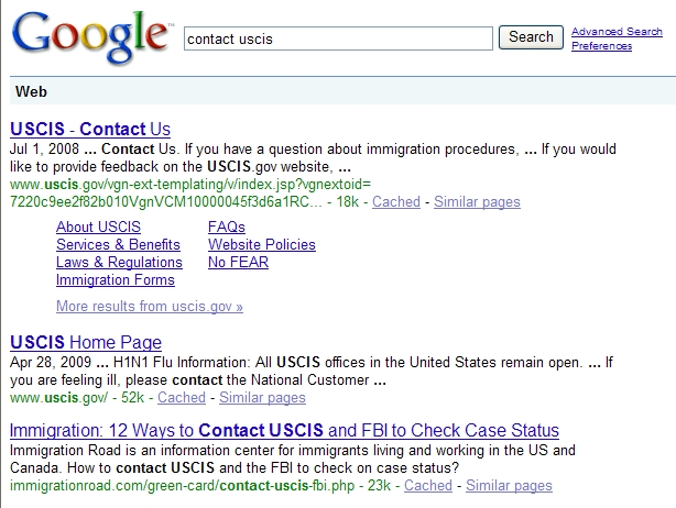 Google Search Result - Contact USCIS