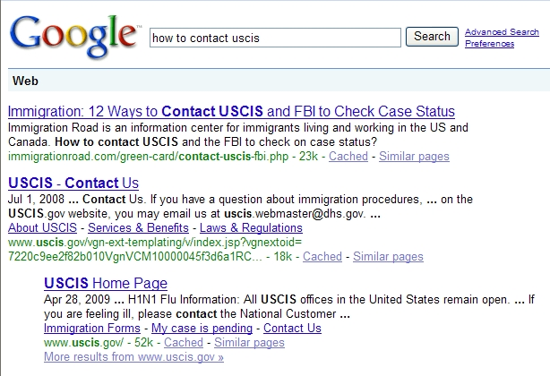 Google Search Result - How to Contact USCIS