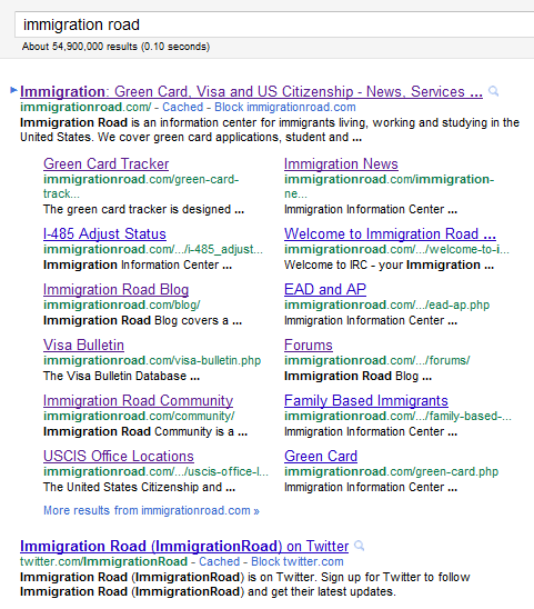 Google Mega Sitelinks for ImmigrationRoad com | Immigration