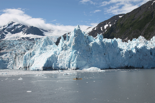 Alaska Glacier with Kayak