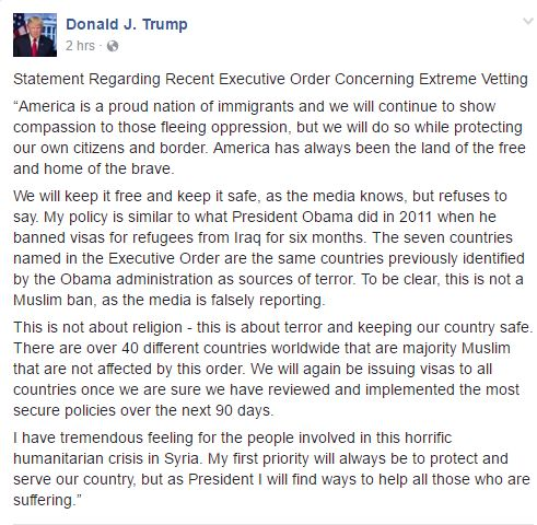 Trump Post on Facebook Executive Orders