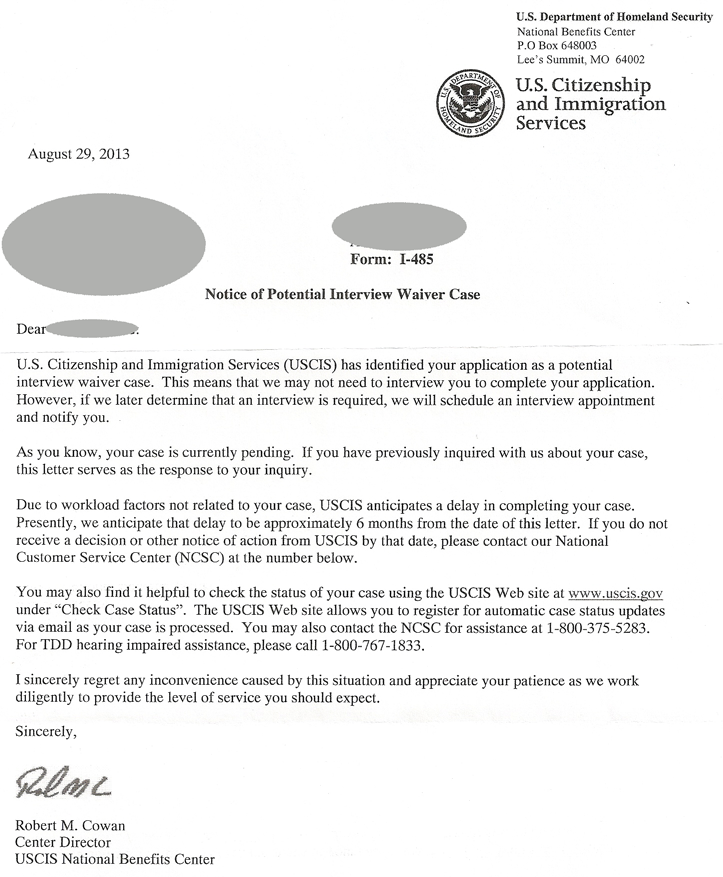 experience letter for green card uscis notice of potential waiver immigration 21647 | USCIS Notice of Potential Interview Waiver