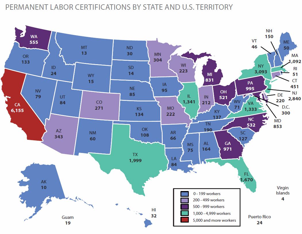 Immigration perm labor certification 2009 labor certification data by state xflitez Images