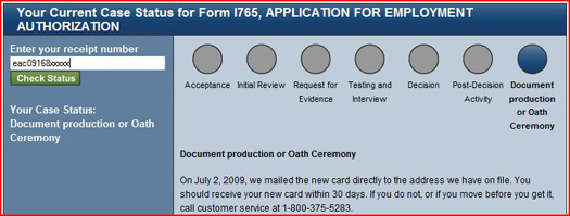 USCIS Case Status Document Production or Oath Ceremony