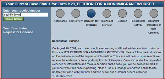 USCIS Case Status Request for Evidence