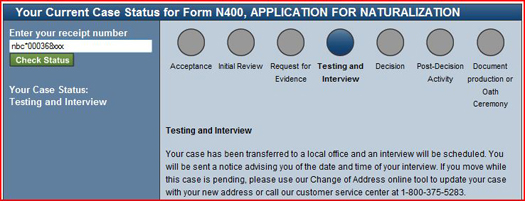 USCIS Case Status Testing and Interview