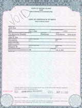 U.S. birth certificate