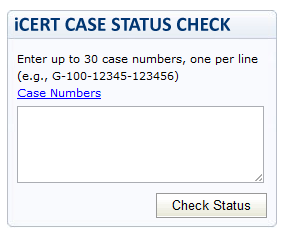 icert case status check for perm lca and h2 visas